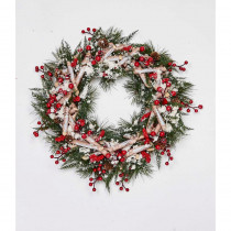 17 in. Artificial Birch Log Wreath with Pinecones Cotton and Berries