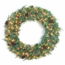 48 in. Syracuse Cashmere Berry Artificial Wreath with 200 Warm White LED Light