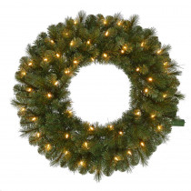 30 in. Pre-Lit LED Wesley Pine Artificial Christmas Wreath x 191 Tips with 50 Outdoor Plug-In Warm White Lights
