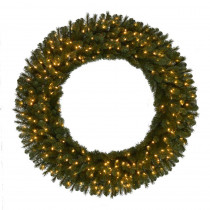 60 in. Pre-Lit LED Wesley Pine Artificial Christmas Wreath x 498 Tips, 240 UL Plug-In Indoor/Outdoor Warm White Lights