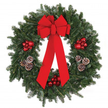 22 in. Live Fraser Fir Christmas Wreath with Red Bow Red Ornaments and Frosted Pinecones