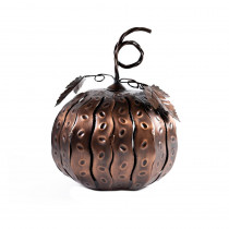 Desert Steel 5.5 in. x 7.5 in. Bronze Fall Harvest Mini Pumpkin Luminary