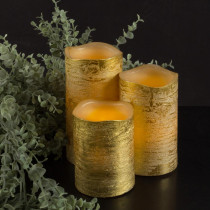 Lavish Home Distressed Metallic Gold Flameless Real Wax LED Candles with Remote (Set of 3)