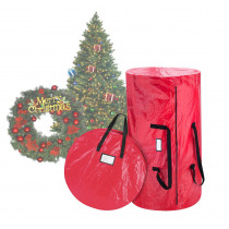Elf Stor Red Extra-Large Artificial Tree and Wreath Storage Bag for Trees up to 9 ft. Tall