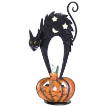 Exhart 20 in. Metal Black Cat on Pumpkin Candle Holder