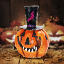 Exhart 16 in. Metal Pumpkin with Top Hat Candle Holder