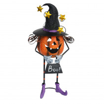 Exhart 24 in. Metal Pumpkin with Witch Hat Candle Holder