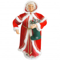 Fraser Hill Farm 36 in. Dancing Mrs. Claus with Hooded Cloak and Stocking