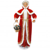 Fraser Hill Farm 58 in. Christmas Dancing Mrs. Claus with Hooded Cloak and Basket