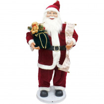 Fraser Hill Farm 36 in. Traditional Christmas Dancing Santa with Scroll and Velvet Toy Sack