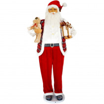 Fraser Hill Farm 58 in. Christmas Dancing Santa with Teddy Bear and Gift