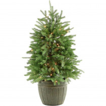 Fraser Hill Farm 4 ft. Pre-Lit Potted Pine Artificial Christmas Tree with 100 Clear Lights
