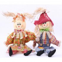 Gardenised 24 in. Sitting Scarecrow Sister and Brother Set with Red Hat