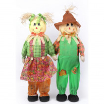 Gardenised 36 in. Standing Scarecrow Sister and Brother Set