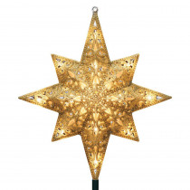 GE Holiday Classics 11 in. 16-Light Gold Glittered Bethlehem Star Tree Top