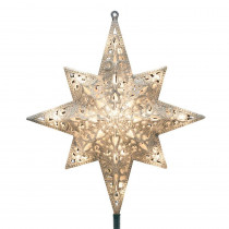 GE Holiday Classics 11 in. 16-Light Silver Glittered Bethlehem Star Tree Top