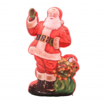 Gemmy 46.46 in. W x 29.53 in. D x 83.86 in. H Inflatable Photorealistic Classic Illustrated Santa with Gift Sack