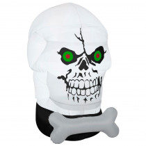 Gemmy 58.27 in. W x 39.37 in. D x 66.14 in. H Inflatable Gotham Skull