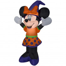 Gemmy 3.51 ft. Pre-Lit Inflatable Minnie in Orange and Purple Outfit and Witch Hat Airblown