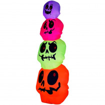 Gemmy 32.68 in. W x 32.68 in. D x 96.06 in. H Inflatable Neon Skulls Stack