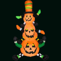 Gemmy 48.03 in. L x 29.92 in. W x 90.16 in. H Inflatable Animated Whimsy Pumpkin Stack