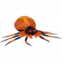 Gemmy 8.00 ft. W Pre-Lit Inflatable Projection Whirl-a-Motion-Black/Orange Spider (White) Airblown