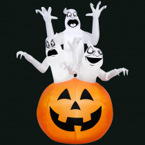Gemmy 48.03 in. L x 43.31 in. W x 72.04 in. H Inflatable 3 Ghosts in Pumpkin Scene