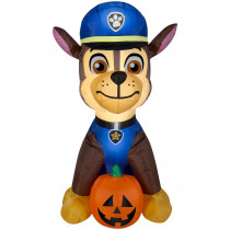 Gemmy 2.99 ft. Pre-Lit Inflatable Paw Patrol Chase with Pumpkin Airblown
