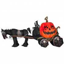 Gemmy 14 ft. Projection Inflatable-Fire and Ice-Grim Reaper, Carriage (RRY)