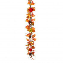 Gerson 5 ft. Harvest Garland with Velvet Pumpkins and Pinecone and Berry Accents