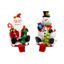 Gerson S/2 Snowman and Santa Stocking Holders