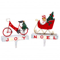 Gerson S/2 Lighted Metal Bicycle and Sled Stocking Holders