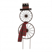 Glitzhome 36 in. H Metal Bike Wheel Snowman Yard Stake Wall Dcor