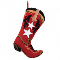 Glitzhome 20.69  in. H Hooked Stocking Red Boot