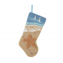 Glitzhome 19 in. L Hooked Stocking, 3D Starfish