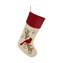 Glitzhome 21 in. H Fabric Cardinal Stocking