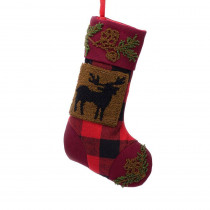 Glitzhome 19 in. Polyester/Acrylic Plaid Christmas Stocking with Rug Hooked Reindeer
