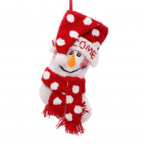 Glitzhome 20 in. Polyester/Acrylic Hooked Christmas Stocking with 3D Snowman