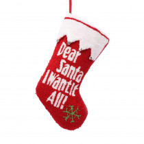 Glitzhome 19 in. Polyester/Acrylic Hooked Christmas Stocking with Dear Santa I Want It All