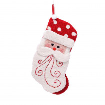 Glitzhome 20 in. Polyester/Acrylic Hooked 3D Santa Christmas Stocking