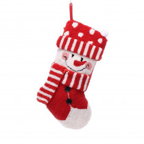 Glitzhome 20 in. Polyester/Acrylic Hooked 3D Snowman Christmas Stocking
