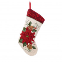 Glitzhome 19 in. Polyester/Acrylic Hooked Christmas Stocking with Poinsettia