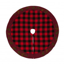 Glitzhome 46.5 in. D Plaid Christmas Tree Skirt