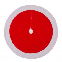 Glitzhome 42 in. D Felt Christmas Tree Skirt  in Traditional Red and White