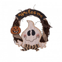 Glitzhome 15.57 in. H Wooden Ghost Welcome Wreath