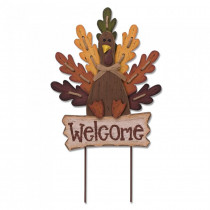 Glitzhome 24.62 in. H Burlap Wooden Welcome Turkey Yard Sign