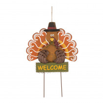 Glitzhome 23.82 in. H Iron/Solid Wood Turkey Welcome Yard Stake(KD)