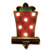 Glitzhome 8.48 in. H Marquee LED Gift Box Stocking Holder