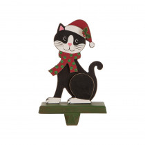 Glitzhome 7.76 in. H Wooden Metal Christmas Stocking Holder Cat