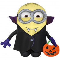 2.99 ft. Pre-Lit Inflatable Gone Batty Minion with Treat Sack Airblown